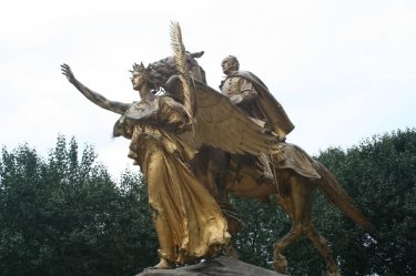 Statue of an angel leading General Sherman in Central Park, NYC